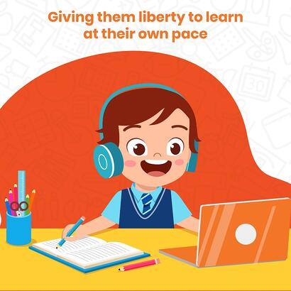 child learning on laptop