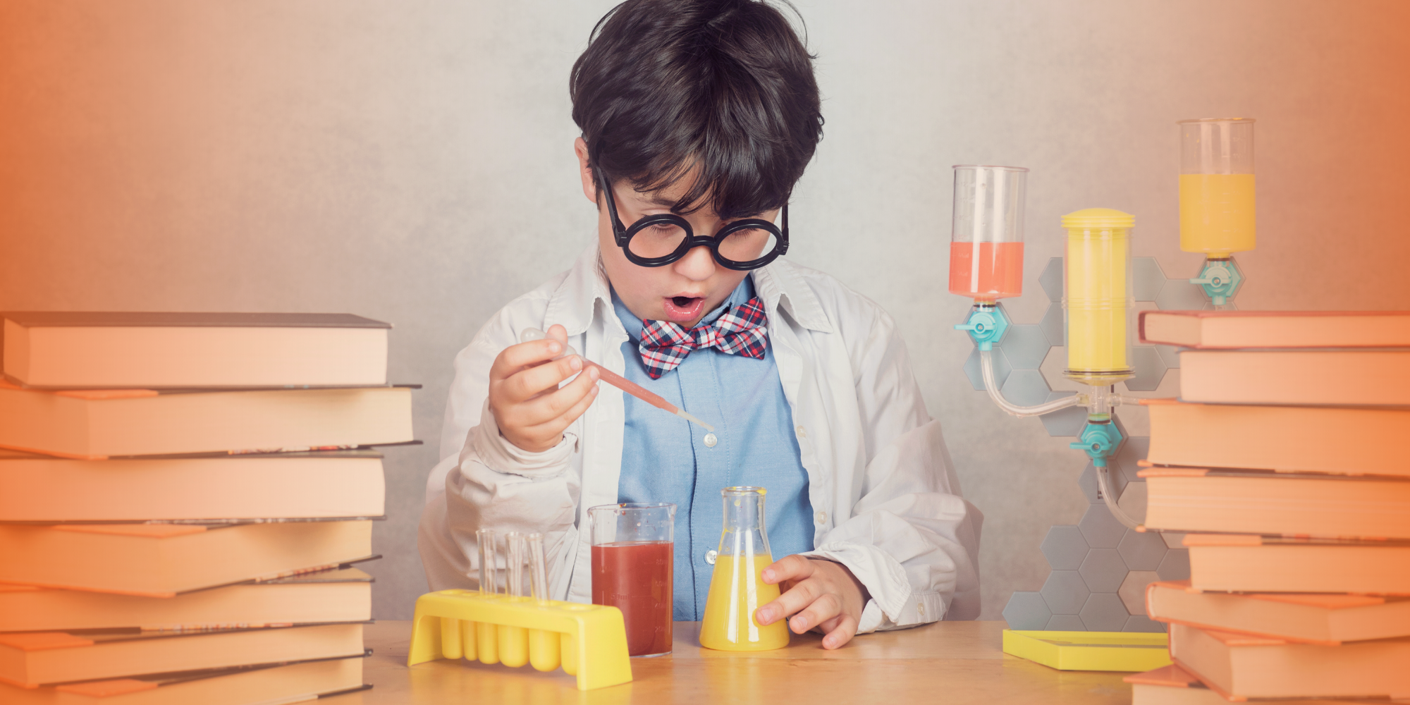 child performing science experiment