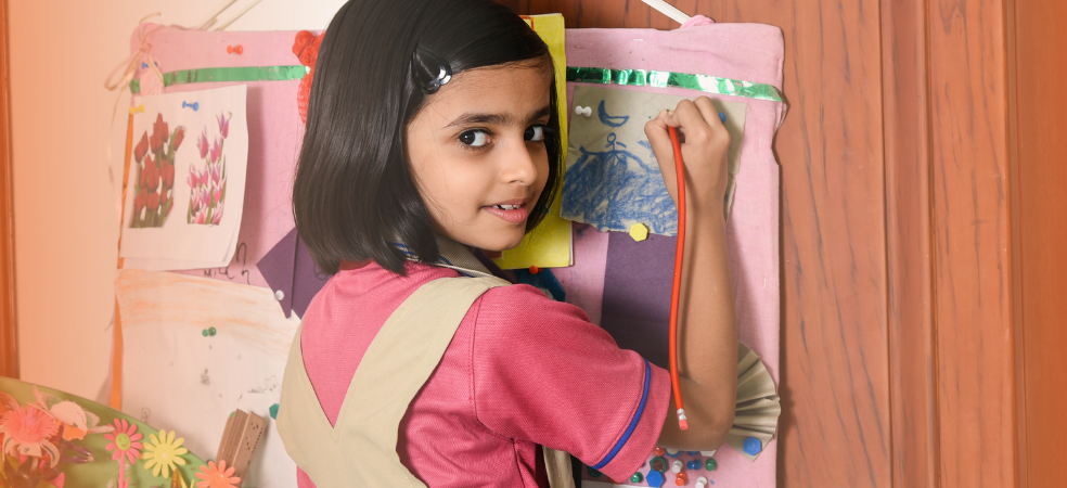 A girl doing educational activity at home