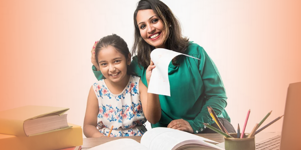 A child and her mother studying together