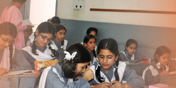 Girls studying in their school